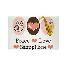 Peace Love Saxophone Sax Rectangle Magnet