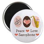 Peace Love Saxophone Sax Magnet