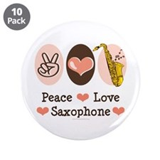 "Peace Love Saxophone Sax 3.5"" Button (10 pack)"