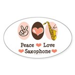 Peace Love Saxophone Sax Oval Sticker (50 pk)