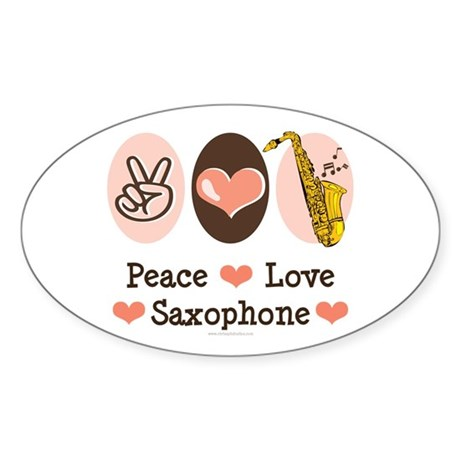 Peace Love Saxophone Sax Oval Sticker (10 pk)