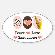 Peace Love Saxophone Sax Oval Decal