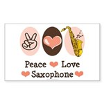 Peace Love Saxophone Sax Rectangle Sticker 50 pk)