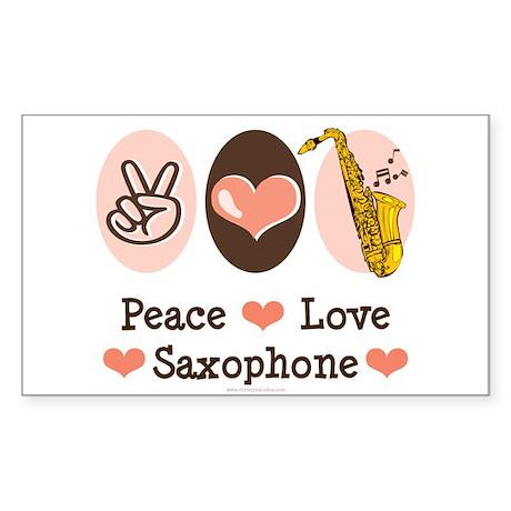 Peace Love Saxophone Sax Rectangle Sticker