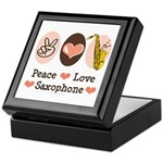 Peace Love Saxophone Sax Keepsake Box