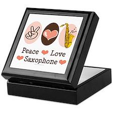 Peace Love Saxophone Sax Keepsake Box