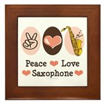 Peace Love Saxophone Sax Framed Tile