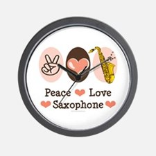 Peace Love Saxophone Sax Player Wall Clock