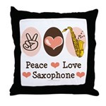 Peace Love Saxophone Sax Throw Pillow
