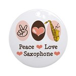 Peace Love Saxophone Sax Ornament (Round)