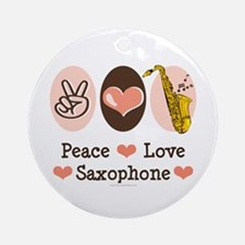Peace Love Saxophone Sax Ornament (Round)