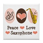 Peace Love Saxophone Sax Tile Coaster