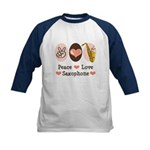Peace Love Saxophone Sax Kids Baseball Jersey