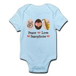 Peace Love Saxophone Sax Player Infant Bodysuit