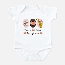 Peace Love Saxophone Sax Infant Bodysuit