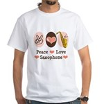 Peace Love Saxophone Sax White T-Shirt