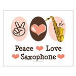 Peace Love Saxophone Sax Small Poster