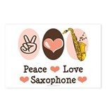 Peace Love Saxophone Sax Postcards (Package of 8)