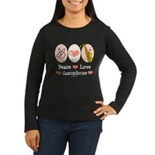 Peace Love Saxophone Sax Long Sleeve Brown Tee