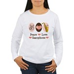 Peace Love Saxophone Sax Women's Long Sleeve T-Shi