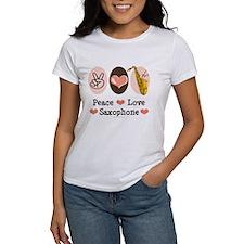 Peace Love Saxophone Sax Tee