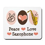 Peace Love Saxophone Sax Mousepad