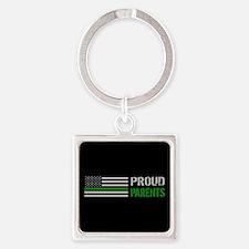 U.S. Flag Green Line: Proud Parent Square Keychain