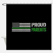 U.S. Flag Green Line: Proud Parents Shower Curtain