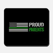 U.S. Flag Green Line: Proud Parents (Bla Mousepad