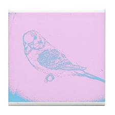 Pink and Blue Parakeet Tile Coaster