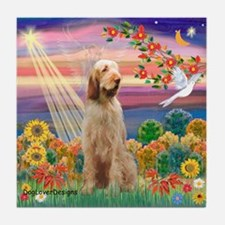 Autumn Angel/Spinone Tile Coaster
