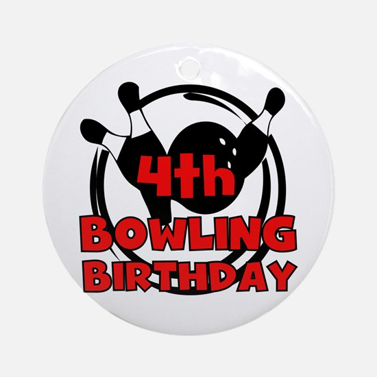 4th Bowling Birthday Ornament (Round)