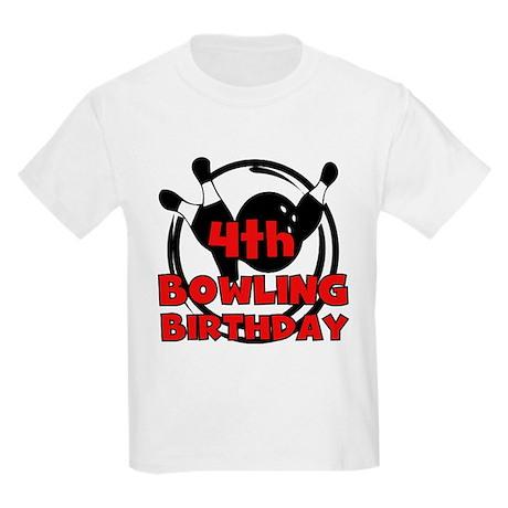 4th Bowling Birthday Kids Light T-Shirt