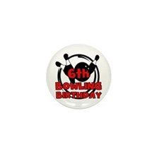 6th Bowling Birthday Mini Button