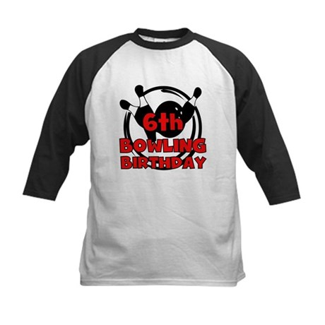 6th Bowling Birthday Kids Baseball Jersey