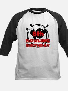 8th Bowling Birthday Kids Baseball Jersey