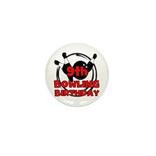 9th Bowling Birthday Mini Button