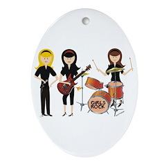 Girls Rock! Oval Ornament