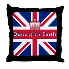 Queen of the Castle British Flag Throw Pillow