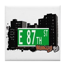 E 87th STREET, BROOKLYN, NYC Tile Coaster