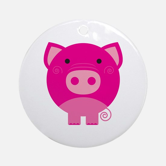 Pink Pig Ornament (Round)