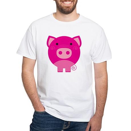 Pink Pig White T-Shirt