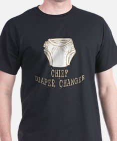 Chief Diaper Changer Mom Dad T-shirts Gifts T-Shirt