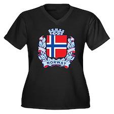 Stylish Norway Crest Women's Plus Size V-Neck Dark
