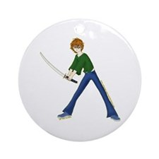 Anime Boy With Sword Ornament (Round)
