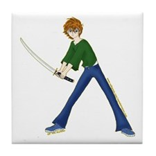 Anime Boy With Sword Tile Coaster