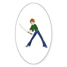 Anime Boy With Sword Oval Decal
