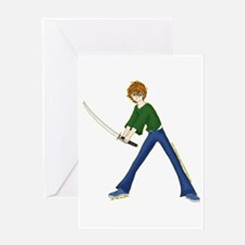 Anime Boy With Sword Greeting Card