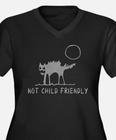 Not Child Friendly Women's Plus Size V-Neck Dark T