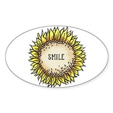 Smile Flower Oval Decal